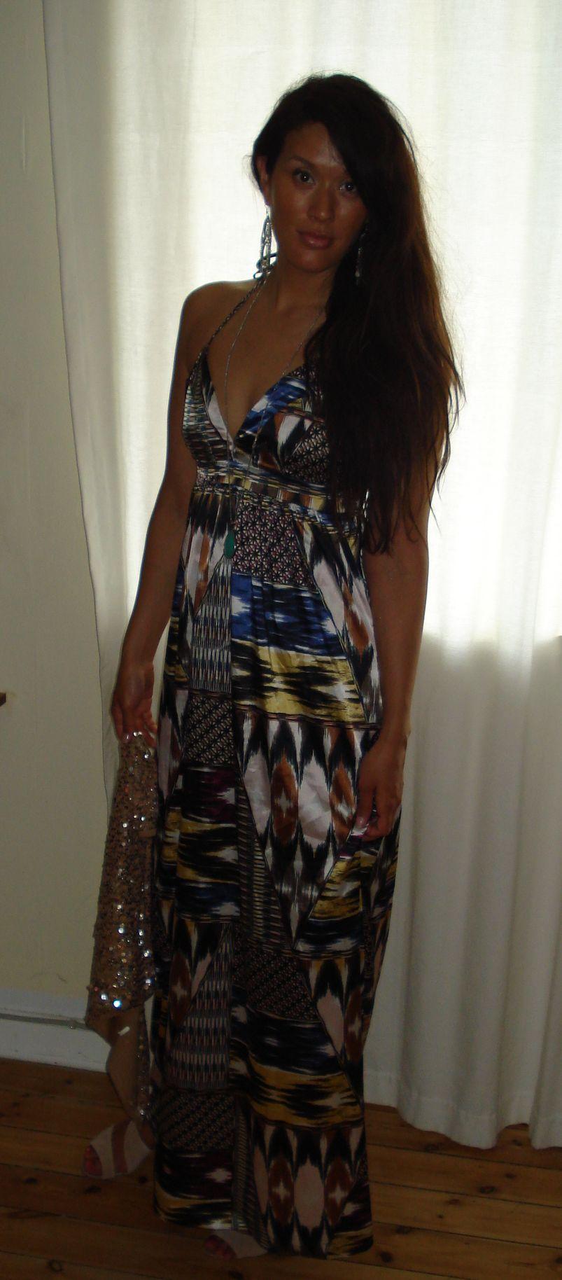 Mønstret maxi kjole: H&M