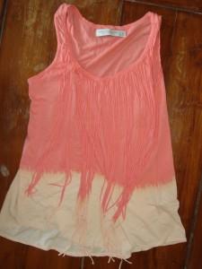 Koralfarvet Top med frynser fra Zara