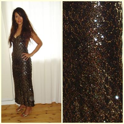 Bronze brun palliet kjole