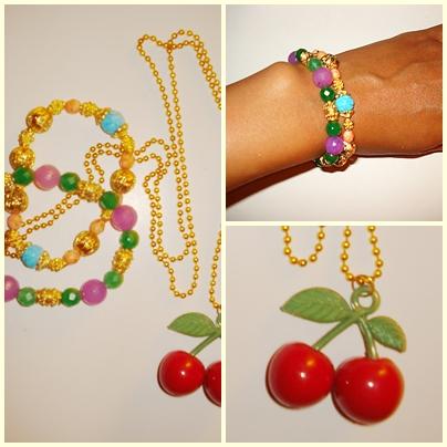 Kirsebær halskæde & farvestrålende armbånd