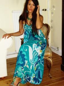 Grøn maxi kjole: H&M