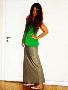 Grøn top: H&M, Maxi nederdel: Topshop