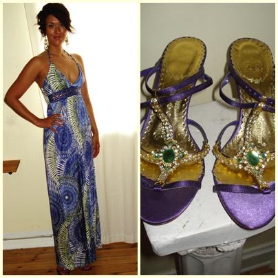 Maxi kjole: Mango, Sandaler: Friis & Co.
