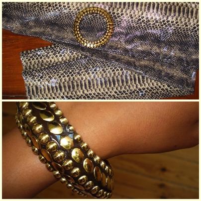 Nitte armbånd og slangeskinds look leggings: H&M