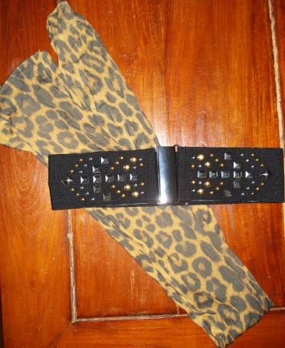 Leopard strømpebukser & Nitte bælte fra H&M