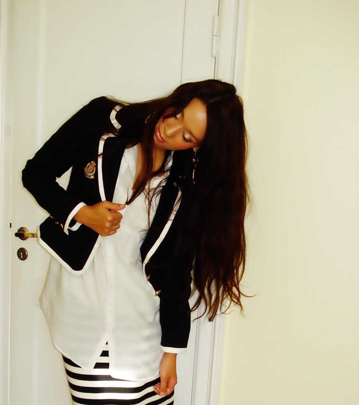Blazer, skjorte, nederdel fra H&M