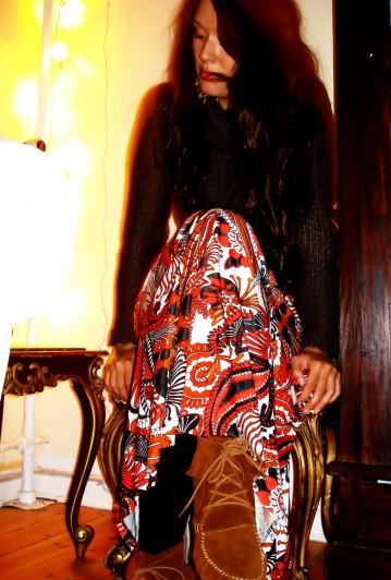 Maxi kjole: H&M, Støvler: Riis