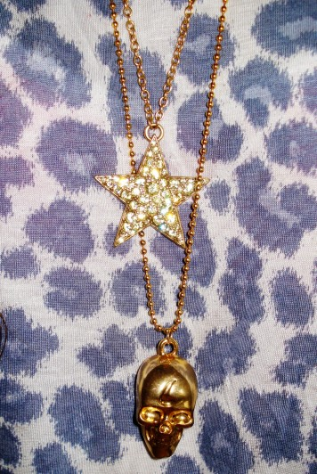 Star necklace: Pilgrim, Cranium necklace: H&M
