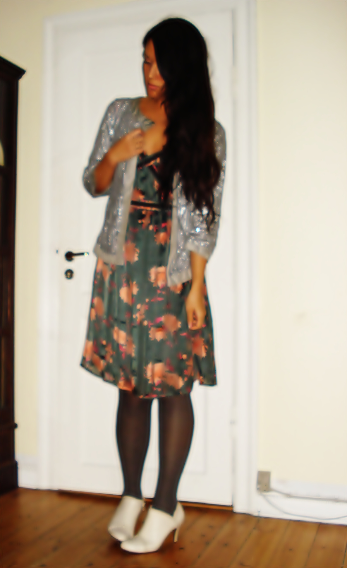 Sequin Cardigan: Zara, Dress: D'ahrling , Booties: Din Sko