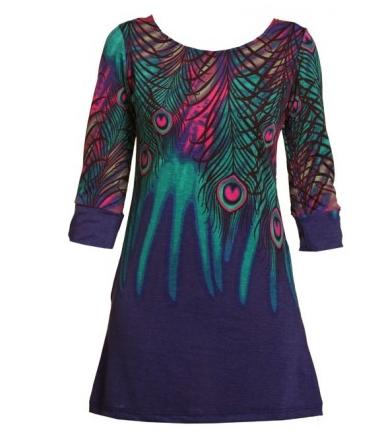 peacock-print-jersey-dress