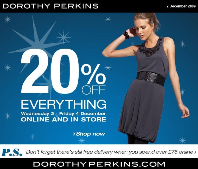 discount 20% voucher Dorothy Perkins, rabat kode Dorothy Perkins