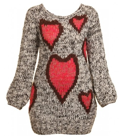 Knitted Heart Print Jumper Dress 20£