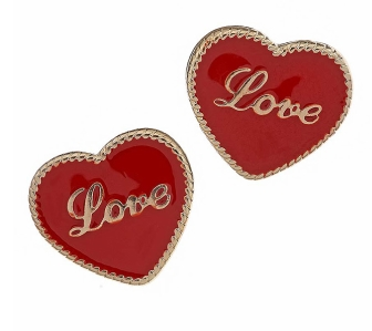 Red Love Heart Stud Earrings 4£