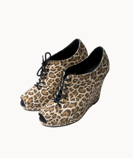 weekday leopard wedges, leopard kilehæls sko