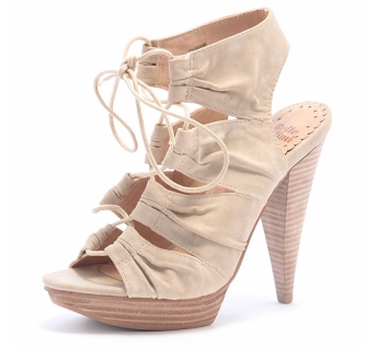 Nude lace up platform shoes