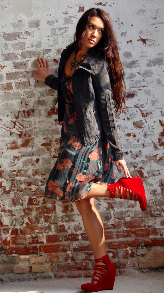 Suede jacket: Phobia, Red wedges: H&M, Dress: D'harling