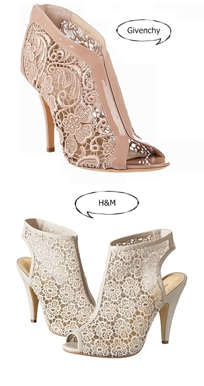 Givenchy-vs H&M, nude lace sandals