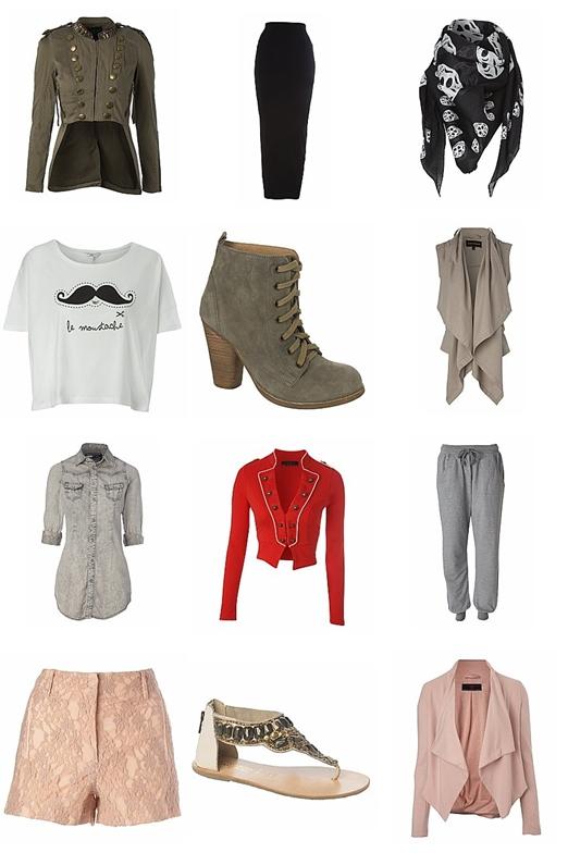 rød militær jakke, red military jacket, maxi skirt, jersy pants, pink jacket, lace boots, moustache t-shirt, newlook clothes, denim shirt, denim skjorte