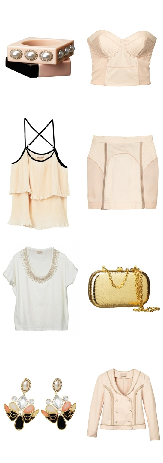 H&M april nyheder, H&M april news, pudder farvet corsage, nude corsage, guld taske, gold box, nude skirt, pudderfarvet nederdel, pudderfarvet jakke, nude jacket