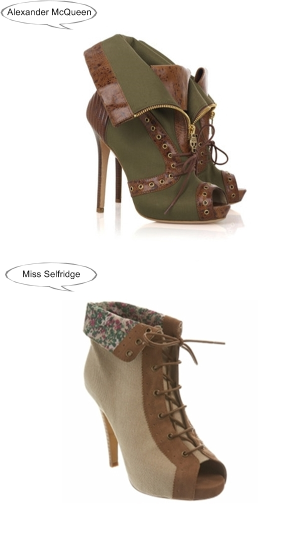 Alexander McQueen vs Miss Selfridge, peeptoe canvas shoe boots, Alexander McQueen canvas boots, Miss Selfridge canvas booties