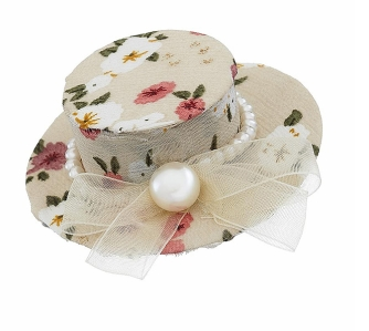Cream Floral Top Hat Clip 6£