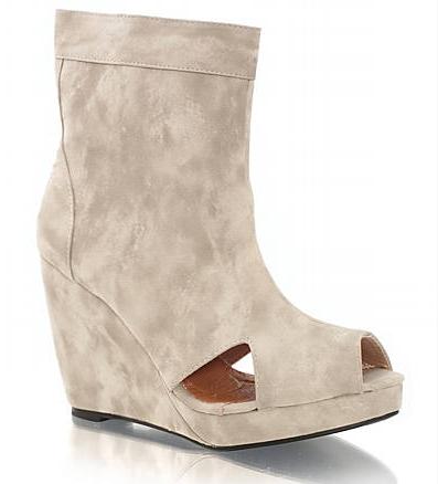 FRIIS & COMPANY NELL, beige suede wedges, lyse kilehæls sandaler