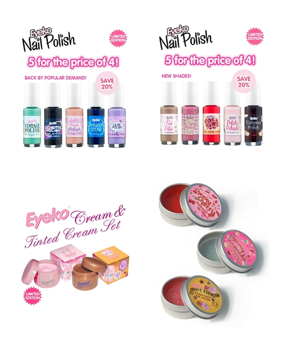 Eyeko Cream & Tinted Cream Set, Eyeko Lip Glosses, Eyeko Nail Polish, Eyeko Fat Balm