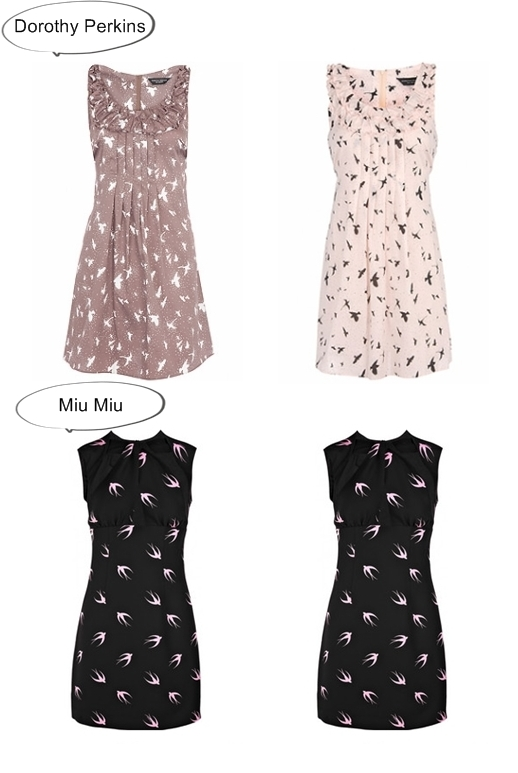 miu miu vs dorothy perkins, miu miu swallow print dress, swallow print dress, miu miu svale kjole, svale kjole, svale print