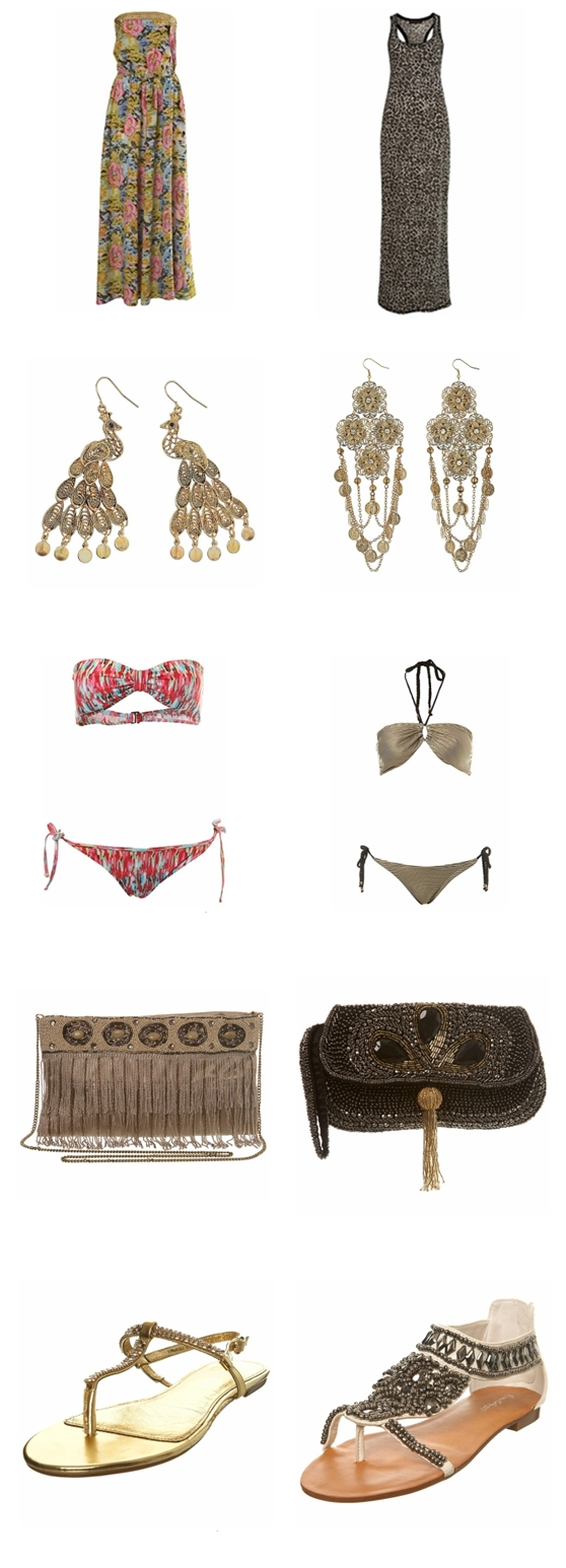 collage leopard maxi dress,Sequin Floral Print Maxi, Black And Gold Bandeau Bikini, White Embellished Sandal, Gold Chain Mail Sandal, Black Tassle Beaded clutch Bag, Flower and Coin Earrings, Blur Print Bikini, Filigree Peacock Earrings,