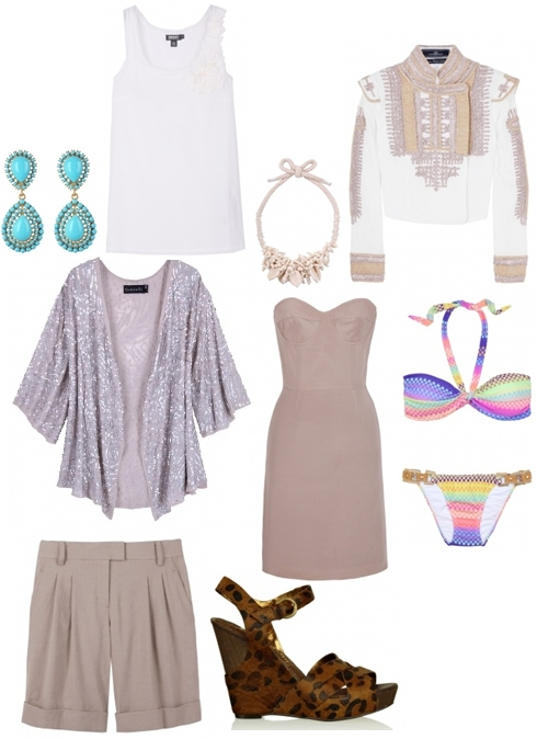 multi color bikini,  Sequinned Shawl Shakuhachi,  Day Eclectic Necklace,  Annix Embroidered Crop Jacket By Malene Birger,  Gold & Turqoise Teardrop Earring Kenneth Jay Lane,  The Lenore Dress,  Katrice Leopard Wedge Sam Edelman