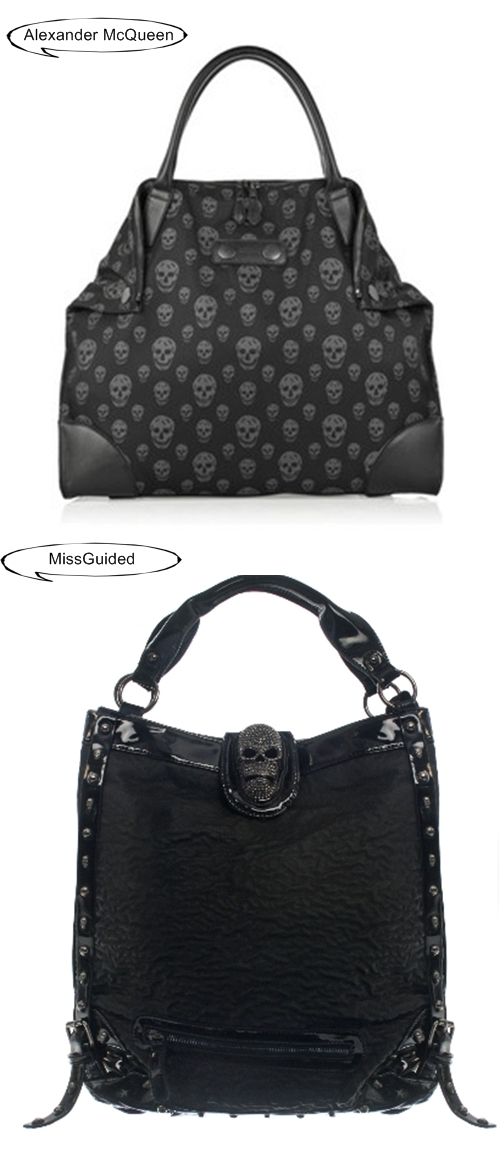 Alexander McQueen look alikes, skull bag, dødningehoved taske