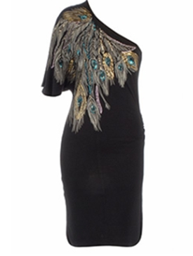 Black feather one shoulder dress 35£