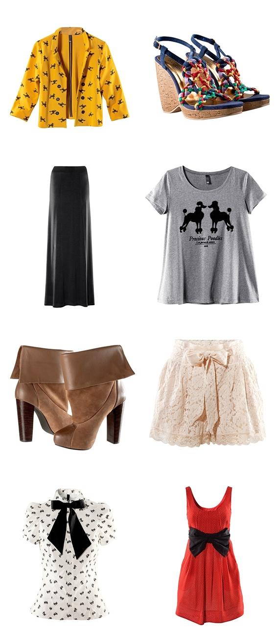 maxi nederdel hm, puddel print jakke, blonde shorts, wedges, kilehæle H&M, poodles T-shirt, bow dress, sljøfe kjole