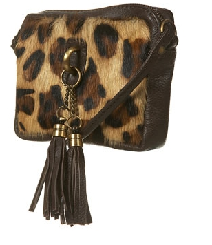 Leopard Tassel Cross Body Bag
