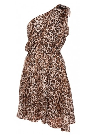 Leopard print one shoulder stud trim dress 20£