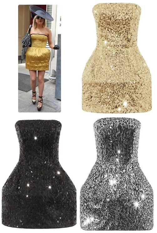 lady gaga style sequin wide hip dress