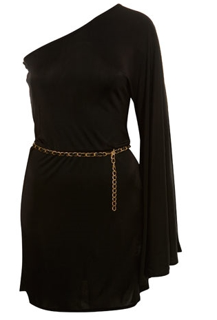 Black One Shoulder Cape Dress 39£