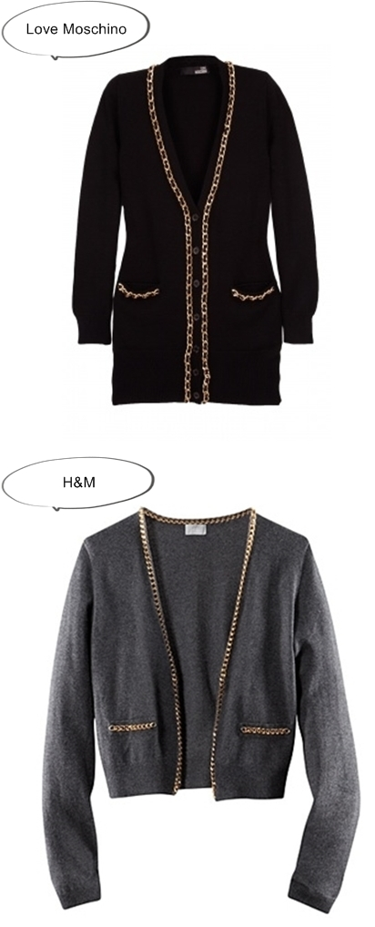 Chain Trim Cardigan Love Moschino vs H&M chain cardigan