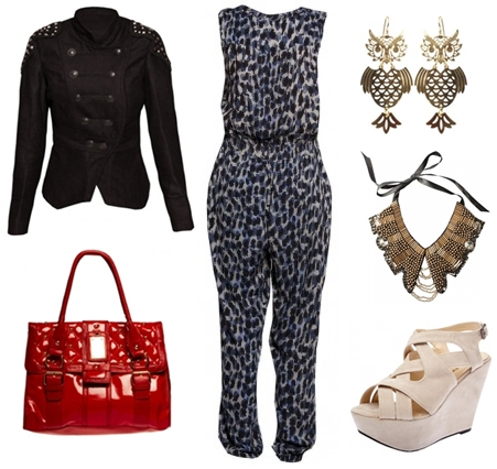 Rio Animal Print All In One, red bag, owl earrings, ugle øreringe creamfarvet kilehæle, cream wedges