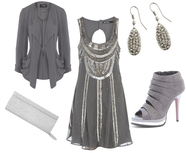 Sequins and Pearls grey embellished dress