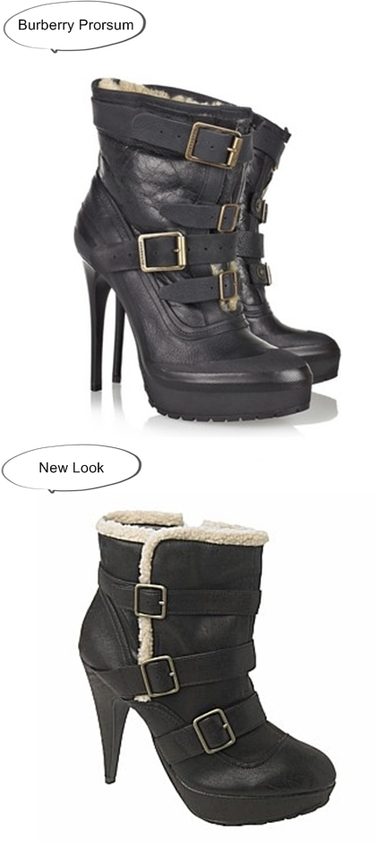Burberry Prorsum Shearling-lined aviator boots, shearling boots, burberry look alikes