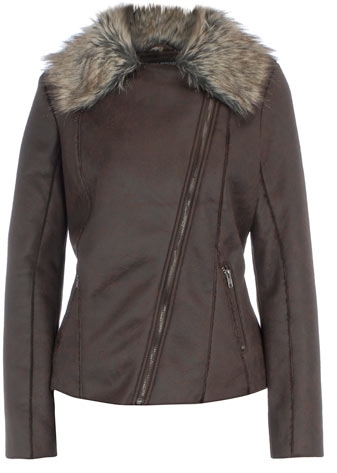Chocolate faux fur trim aviator jacket