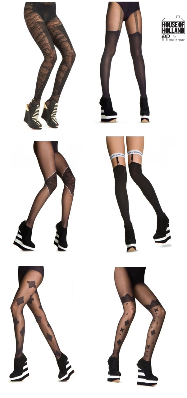 Henry Holland Lace Panel Tights, House of Holland Bandana Suspender Tights, strømpebukser