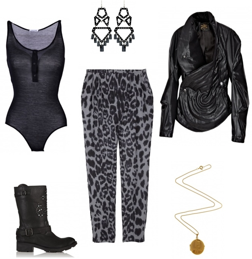 Linexa The Wild Easy Fit Trousers By Malene Birger,  Black York Bodysuit Forrest & Bob, Merle O'Grady, Laura Lee Jewellery,  Animal Puffer Jacket Vivienne Westwood Anglomania,  Spirit Stud Jewel Calf Biker Boot Ash,
