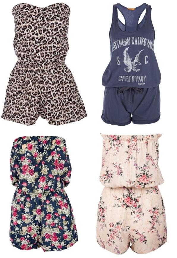 Miso Bandeau Playsuit, leopard buksedragt, blomster jumpsuit, flower print suit, jersey dragt