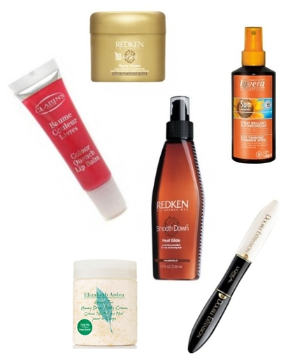 Redken Smooth Down Heat Glide, Redken All Soft Heavy Cream, Elizabeth Arden Green Tea Honey Drops Body Cream, L'Oreal Double Extension Fortifying Extending Mascara, Clarins Colour Quench Lip Balm, Lavera Sun Sensitiv Self Tanning Shimmer Spray