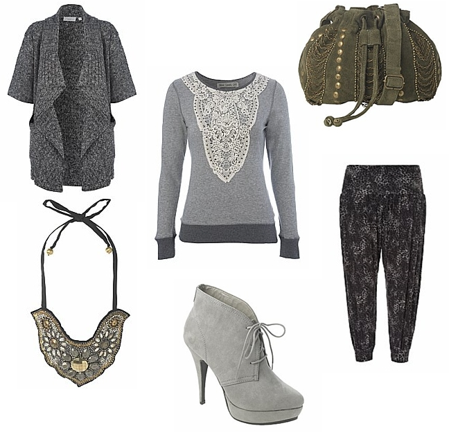 Studded Lace Sweat, animal print trousers, tyk sweater, armygrøn taske, grå ankel støvler, statement necklace, dyreprint bukser