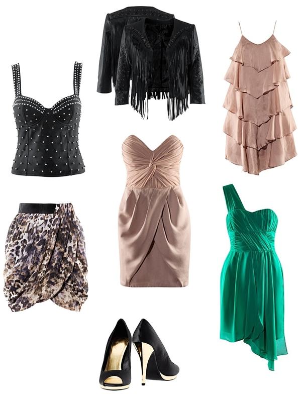 H&M dresses fall, kjoler H&M, festkjoler 2010, leopard nederdel, grøn kjole, pudderfarvet kjole, nude dress, fringe jacket, frynse jakke