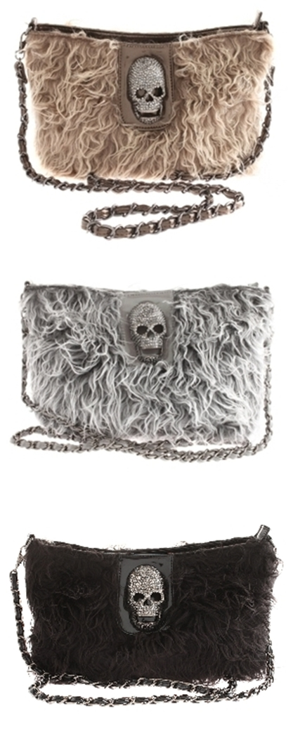 Shelbie Faux Fur Skull Detail Bag, dødningehoved taske, skull clutch
