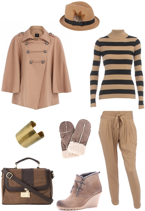 Sand felt feather trilby hat, Dark camel military cape, Camel ribbed roll neck jumper, Gold metal snake cuff, Mink suedette mittens, Camel drape peg trousers, Chocolate faux snake mini satchel, Tan shearling trim wedge boots, camel farvet 2010,camel bukser, camel kappe